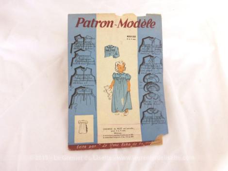 """Ancien patron Chemise de Nuit pour fillettes de 2 à 4 ans des années 50, numéro 400133 de la marque Patron Modèle, édité par """"Le Petit Echo de la Mode""""."""