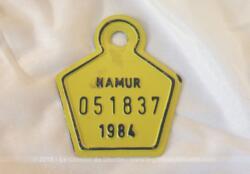 Ancienne plaque vélo belge de 1984 laquée jaune