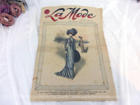 Revue La Mode du 31 janvier 1909 sur 12 pages avec publicité, mode, petites annonces, recettes de cuisine, tout le charme de la mode du tout début du siècle... Incroyable !