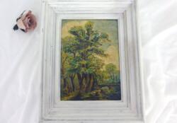 Voici un ancien tableau peinture à l'huile paysage dont l'encadrement a été mis dans la tendance actuelle shabby. La peinture, quant à elle, représente un sous bois avec beaucoup de détails. Pièce unique !