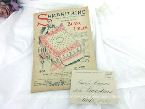 Voici un ancien catalogue La Samaritaine Spécial Blanc de 1908 avec échantillons de tissus, pour la mode , décoration et linge pour l'année 1908,