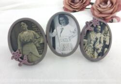 Petit triptyque de cadres shabby, patiné en taupe mais ses fleurs en reliefs rosies, et ses 3 photos anciennes.