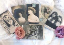 Six anciennes cartes de femmes célèbres en 1900, actrices, mannequin ou comédienne.