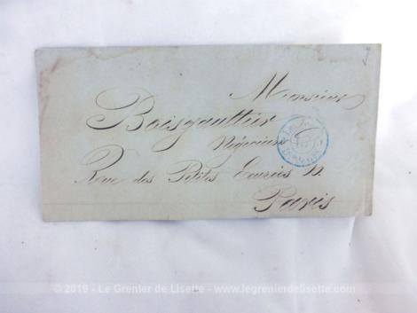 Ancienne lettre pli du 10 aout 1849 expédiée de Paris Belleville à Mr Boisgauthier, Régisseur à Paris.
