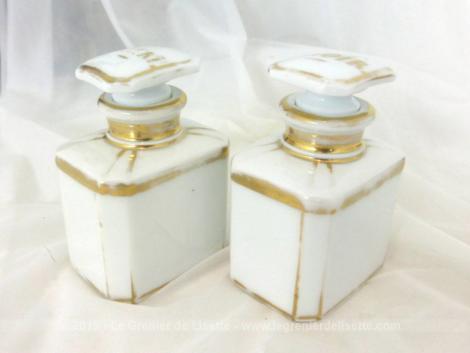 Deux anciens pots à thés vert et noir, en porcelaine blanche avec inscription sur le bouchon VERT pour l'un et NOIR pour l'autre.