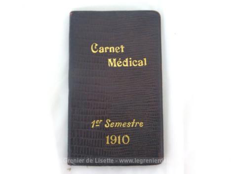 """Voici un petit calepin, agenda Carnet Médical 1er semestre 1910 avec sur chaque page un produit de la marque """"Houdé"""" . Plus que centenaire !"""