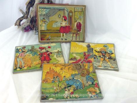 Ancienne boite de 3 puzzles vintages années 60 représentant tous des contes de Charles Perrault. Très émouvant....