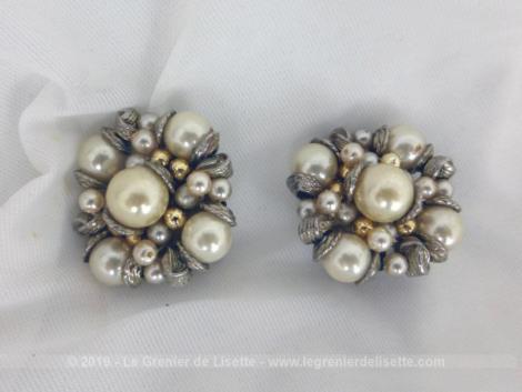 Superbes boucles d'oreille vintages avec perles, de grandes tailles avec perles à porter sur des oreilles non percées ou à revisiter en broche, pinces, bijoux... que de choix !