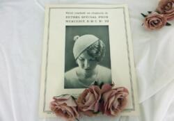 Ancienne fiche D.M.C. pour béret au crochet à réaliser en Retors spécial pour mercerie D.M.C. n°10.