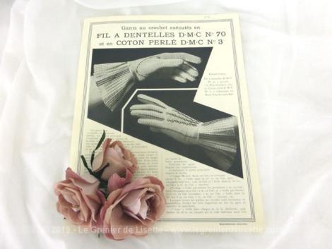 Ancienne fiche D.M.C. pour gants au crochet à réaliser en fil à dentelle n°70 et en coton perlé n°3.