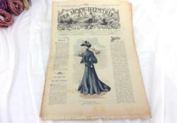 Revue La Mode Illustrée du 21 février 1904 avec des modèles de tailleurs et robes et un patron de broderie sur tulle. Toute la mode du début du XX°.