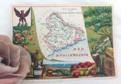 Voici une belle chromo du département des Alpes Maritimes datant de 1876. C'est une image de 11.5 x 8.5 cm sur papier cartonné avec toutes les caractéristiques de l'époque.