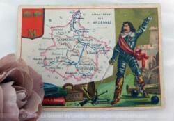 Voici une belle chromo du département des Ardennes datant de 1876. C'est une image de 11.5 x 8.5 cm sur papier cartonné avec toutes les caractéristiques de l'époque.