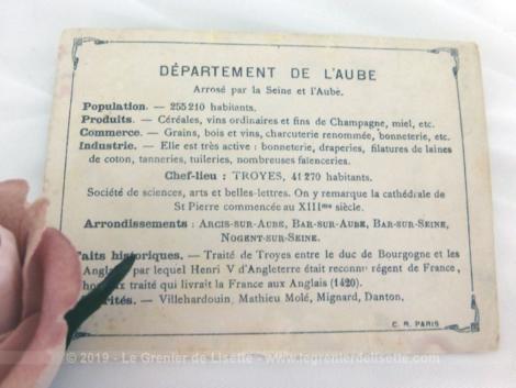Voici une belle chromo du département de l'Aube datant de 1876. C'est une image de 11.5 x 8.5 cm sur papier cartonné avec toutes les caractéristiques de l'époque.