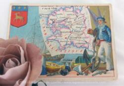 Voici une belle chromo du département du Finistère datant de 1876. C'est une image de 11.5 x 8.5 cm sur papier cartonné avec toutes les caractéristiques de l'époque.