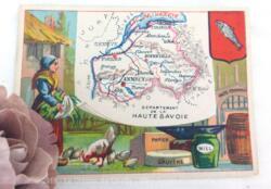 Voici une belle chromo du département de la Haute Savoie datant de 1876. C'est une image de 11.5 x 8.5 cm sur papier cartonné avec toutes les caractéristiques de l'époque.