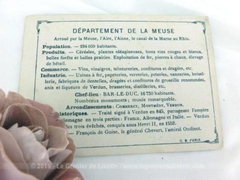 Voici une belle chromo du département de la Meuse datant de 1876. C'est une image de 11.5 x 8.5 cm sur papier cartonné avec toutes les caractéristiques de l'époque.