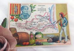 Voici une belle chromo du département des Pyrénées Orientales datant de 1876. C'est une image de 11.5 x 8.5 cm sur papier cartonné avec toutes les caractéristiques de l'époque.
