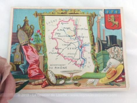 Voici une belle chromo du département du Rhône datant de 1876. C'est une image de 11.5 x 8.5 cm sur papier cartonné avec toutes les caractéristiques de l'époque.