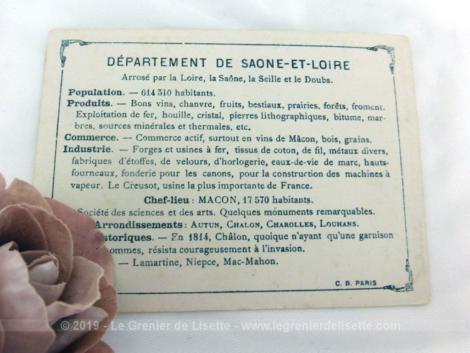 Voici une belle chromo du département de Saône et Loire datant de 1876. C'est une image de 11.5 x 8.5 cm sur papier cartonné avec toutes les caractéristiques de l'époque.