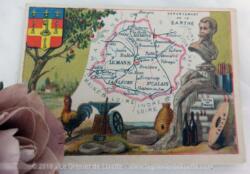 Voici une belle chromo du département de la Sarthe datant de 1876. C'est une image de 11.5 x 8.5 cm sur papier cartonné avec toutes les caractéristiques de l'époque.