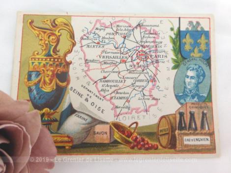 Voici une belle chromo du département de la Seine et Oise datant de 1876. C'est une image de 11.5 x 8.5 cm sur papier cartonné avec toutes les caractéristiques de l'époque.