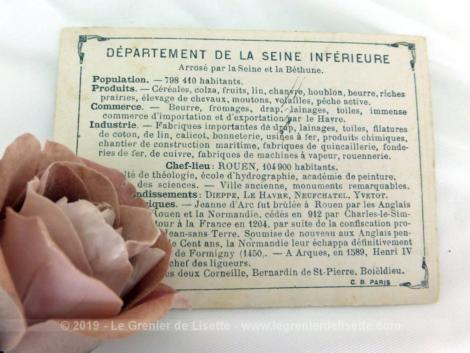 Voici une belle chromo du département de la Seine Inférieure datant de 1876. C'est une image de 11.5 x 8.5 cm sur papier cartonné avec toutes les caractéristiques de l'époque.
