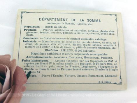 Voici une belle chromo du département de la Somme datant de 1876. C'est une image de 11.5 x 8.5 cm sur papier cartonné avec toutes les caractéristiques de l'époque.