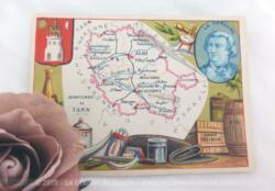 Voici une belle chromo du département du Tarn datant de 1876. C'est une image de 11.5 x 8.5 cm sur papier cartonné avec toutes les caractéristiques de l'époque.