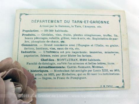Voici une belle chromo du département du Tarn et Garonne datant de 1876. C'est une image de 11.5 x 8.5 cm sur papier cartonné avec toutes les caractéristiques de l'époque.