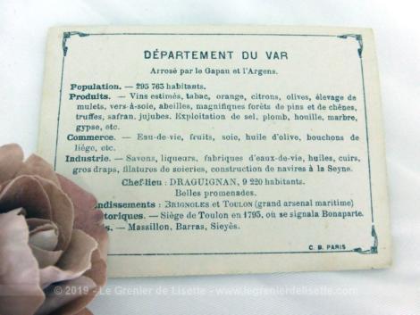 Voici une belle chromo du département du Var datant de 1876. C'est une image de 11.5 x 8.5 cm sur papier cartonné avec toutes les caractéristiques de l'époque.