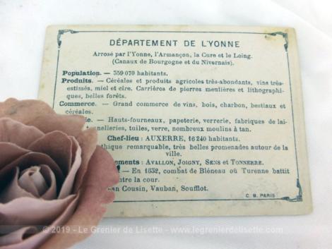 Voici une belle chromo du département de l'Yonne datant de 1876. C'est une image de 11.5 x 8.5 cm sur papier cartonné avec toutes les caractéristiques de l'époque.