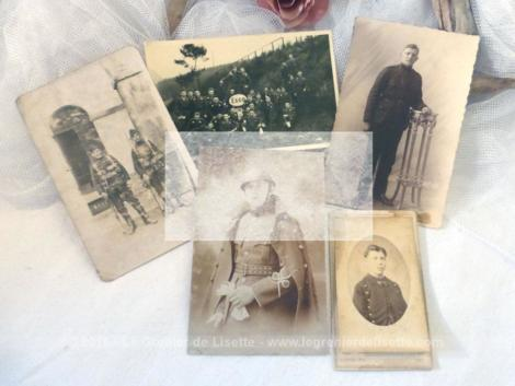 Voici cinq photos anciennes de soldats datant de la fin du XIX° jusqu'au début du siècle dernier. Ces photos seront à vous et donc libres de droit. C'est pour cela qu'elles vous apparaissent floutées afin de ne pas être copiées !