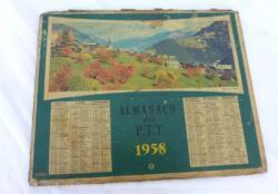 Almanach des PTT pour l' année 1958 cartonné avec un semestre de chaque coté et sa photo. Plus de feuillets intérieurs.