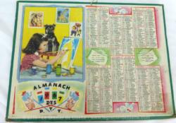 Almanach cartonné des P.T.T. de 1967 avec une photo d'une jeune fille peignant et ses pots de peintures et ses feuillets complémentaires.