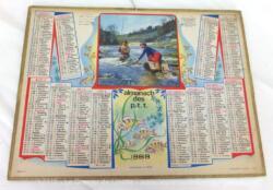 Almanach cartonné des PTT de 1969 avec une photo de Pêcheurs et ses 4 feuilles supplémentaires dont une carte de France et un plan de la ville de Nancy.