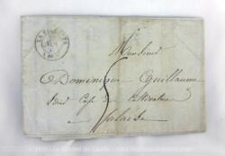 Ancienne lettre pli du 28 novembre 1846 correspondant à une facture d'achat d'alcool avec à l'intérieur la lettre de change. facture et mandat de change, expédiée de La Villlette à un limonadier, de la ville de Falaise dans le Calvados.