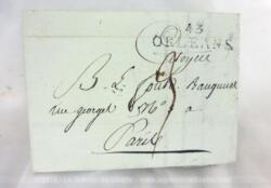 Datant de plus de 219 ans, voici une ancienne lettre pli du 25 Prairial an 8, (correspondant au 14 juin 1800), expédiée d'Orléans pour Paris.