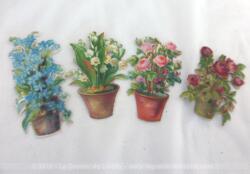 Voici un bel assortiment de 4 belles chromos découpis qui représentent toutes plantations fleuries en pots.