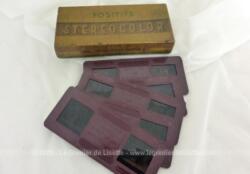 Voici une belle boite vintage contenant 5 positifs Stéréocolor n°6091 pour le Mont Saint Michel .