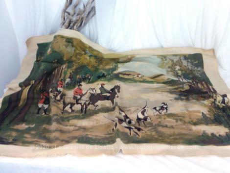 Grand dessin imprimé sur tissus de 128 x 83 cm dont le dessin qui mesure 112 x 72 cm est la copie d'une scène de chasse à courre signé Jean Chaussavaine.