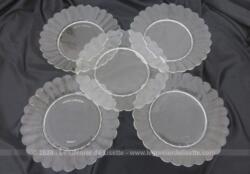 Lot de 5 assiettes à dessert en verre translucide des années 60 de la marque Duralex, en forme de fleur, publicité Lesieur de 18 cm de diamètre.