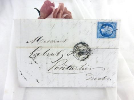 Ancienne lettre pli du 2 juillet 1859, de 161 ans, écrite de Paris à Pontarlier, entre un vendeur de fromages et son fournisseur.