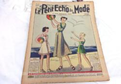 Ancienne revue Le Petit Echo de la Mode du 4 juillet 1937 en grand format, véritable trésor vintage de 83 ans avec des dessins de modèles de robes, de tailleurs, de broderies et un patron pour un gilet tricoté... et tout le mystère de l'élégance pour l'été 1937 !