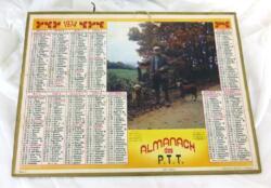 Almanach cartonné des PTT de 1974 avec une photo d'un chasseur et 5 feuillets supplémentaires sur le secteur du département de Meurthe et Moselle