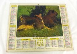 Ancien almanach des P.T.T. de 1975 avec la photo de lionnes et zèbres de l'autre. Il y a 4 feuillets supplémentaires sur le département de Meurthe et Moselle. Frais de port offerts.