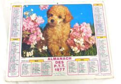 Ancien almanach des P.T.T. de 1977 avec la photo d'un bébé caniche d'un coté et de deux chats sur l'autre avec 12 pages supplémentaires
