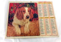 Ancien almanach des P.T.T. de 1979 avec la photo de chiens sur les deux faces. Il y a 6 pages supplémentaires sur les services de la Poste et le département de la Meurthe et Moselle.