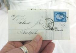 Ancienne petite lettre pli du 28 avril 1860 de 160 ans, écrite par la Banque et Recouvrement Vouillement Frères de Paris à Pontarlier, justificatif avec balance comptable.