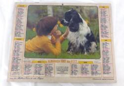 Ancien almanach des P.T.T. de 1981 avec la photo d'un enfant avec son chien d'un coté et d'un cheval avec enfants de l'autre et 6 feuillets supplémentaires